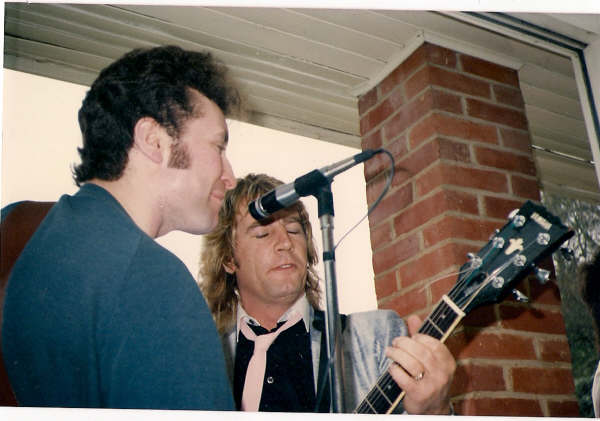 "Rick Parfitt at DJ Mike Reed's Sunday afternoon house party. 1985. ""I can play guitar shitter than you!"" Rick Parfitt"
